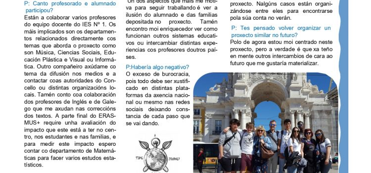 GALICIAN PARTNER INTERVIEW ABOUT THE ERASMUS+ PROJECT WITH JUAN GAGO (TEACHER) AND IBRAHIMA (STUDENT)