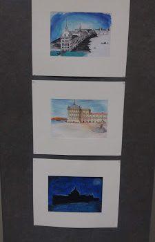 Exposição do projeto Erasmus + no átrio da escola