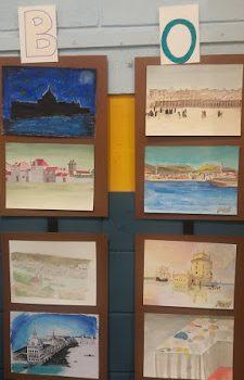 Exposição com os trabalhos feitos pelos alunos alusivos à viagem de Cosimo III